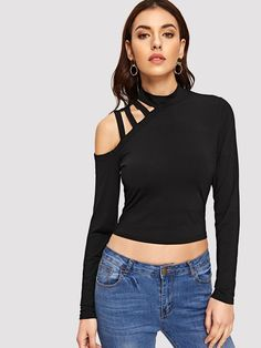 Elegant and Sexy Plain Slim Fit Stand Collar Long Sleeve Pullovers Black Crop Length Mock-neck Laddering Strap Crop Tee Dress Neck Designs, Blouse Designs, Moda Casual, Latest T Shirt, Cool Hoodies, Western Outfits, One Piece Swimwear, Crop Tee, V Neck Tee