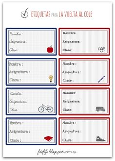 Etiquetas imprimibles para la vuelta al cole