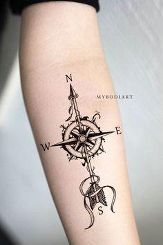 Cool Arrow Compass Forearm Tattoo Ideas For Women - Compass Tattoo Ideas . - Cool Arrow Compass Forearm Tattoo Ideas for Women – Compass Tattoo Ideas … – – - Arrow Compass Tattoo, Compass Tattoo Design, Arrow Tattoo Design, Map Compass, Forearm Tattoos, Body Art Tattoos, New Tattoos, Tattoos For Guys, Maori Tattoos