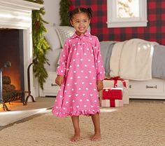 Heart Flannel Nightgown, Bright Pink, 10