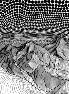 Horizon by Christa Rijneveld / Mountain Drawing, Ink Pen Drawings, Tangle Art, Sharpie Art, Ink Illustrations, Pen Art, White Art, Black White, Pattern Art