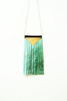 Honorious: Metallic Leather Fringe Statement Necklace // Turquoise // Geometric //Snakeskin Effect // OOAK on Etsy, $32.58