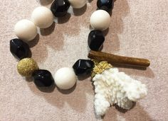 Round White Sponge Coral Bead, Black Faceted Agate, Long Brown Coral Necklace and White Coral Earrings  White Songe Coral Bead - 18mm  https://www.instagram.com/abalone.abalone/