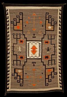 J B Moore Crystal Trading Post Pictorial Plate #27, Navajo weaving, wool, 1910-20