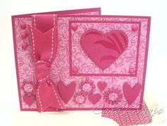 "Hot pink valentine...luv the way the design fills the card yet doesn't seem ""busy"" with all the small embellishments..."