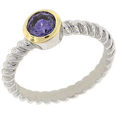World Class Brilliance with Russian Formula Cubic Zirconia Stones Two-Tone yellow and white gold overlay Amethyst RN4475