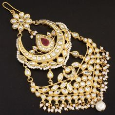 Kundan Ruby Pearl Hair Jewellery Passa Jhoomer @ Indiatrend For $69.99USD