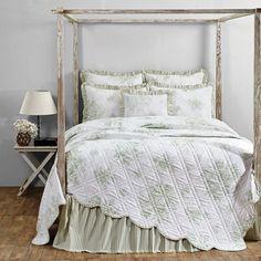Josephine Sage Romantic Cottage Green & White Rose Bouquet Quilt Luxury King #VictorianHeart #Cottage