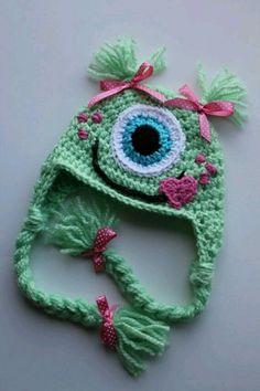 Items similar to One Eyed Monster Earflap Hat-Custom made any size on Etsy Bonnet Crochet, Crochet Cap, Crochet Baby Hats, Crochet Beanie, Cute Crochet, Crochet Crafts, Knitted Hats, Crochet Monster Hat, Crochet Monsters