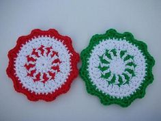 Crochet Peppermint Coasters