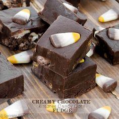 Creamy Chocolate S'mores Candy Corn Fudge - Sprinkle Some Sugar