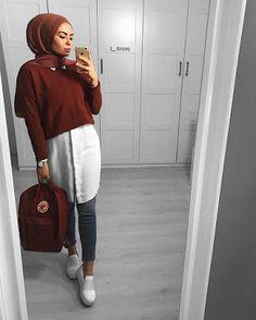 Hijab style Chic Modèle 2019 Source by nadine_alzaarer inspiration hi. - Hijab style Chic Modèle 2019 Source by nadine_alzaarer inspiration hijab - Modern Hijab Fashion, Street Hijab Fashion, Hijab Fashion Inspiration, Muslim Fashion, Modest Fashion, Look Fashion, Trendy Fashion, Fashion Trends, Hijab Chic