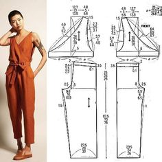 ✂You can find Jumpsuit pattern and more on our website. Sewing Pants, Sewing Clothes, Sewing Coat, Barbie Clothes, Jumpsuit Pattern, Pants Pattern, Dress Sewing Patterns, Clothing Patterns, Patterns For Dresses