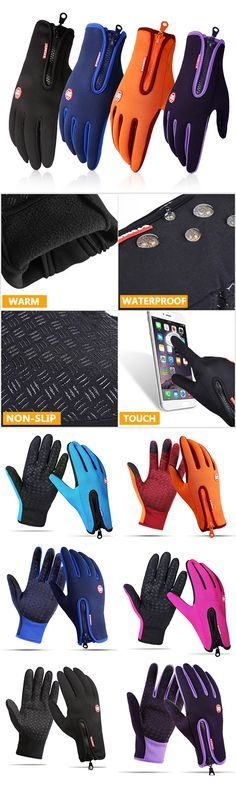 #men #women Windproof Touch Screen Fleece Cycling Gloves #fashion #style