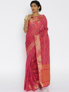 Buy Bunkar Pink Banarasi Traditional Saree -  - Apparel for Women from Bunkar at Rs. 2049
