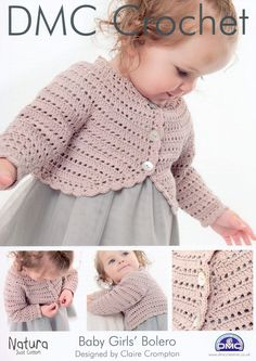 DMC Crochet Baby Girls Bolero- idea for cardigan to make my own pattern. I hate buying patterns unless they are in a book