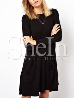 Black Long Sleeve Pockets Designers Casual Dress 14.99