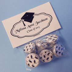 Personalized Graduation Favor Bag Toppers with Hershey Kiss Stickers, black border, set of 100, includes bags