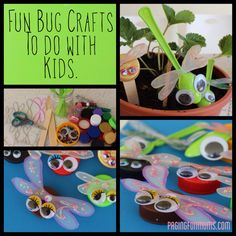 Easy Bug Crafts with plastic bottle caps or spoons, googly eyes, and cut milk jug wings.  Assemble with glue dots.