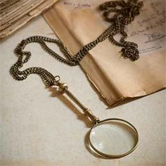 Antiqued Brass Magnifying Glass with Chain