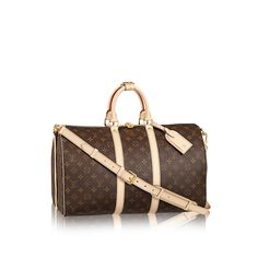 Keepall BANDOULIÈRE 45 $1980. Travel light, but always in style. Since 1930, Vuitton's Keepall duffle has journeyed alongside generations of elegant globetrotters. This version, the smallest of the line, holds all the essentials for an overnight jaunt. In Monogram Canvas, with comfortable-to-hold leather handles, a strap for casual cross-body wear and a gleaming brass padlock.
