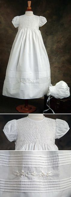 heirloom smocked gown -- pretty hem detail could be used for other dresses