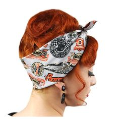 Fans of Hot Rods, Drag Racing and Speedway check out these vintage inspired patterns. Perfect for that greaser girl look! All our bandanas are handmade by us in the UK to original vintage dimensions: X Extremely versatile and big enough for retro styling. Rockabilly Outfits, Rockabilly Pin Up, Rockabilly Fashion, Retro Fashion, Bandana Hairstyles, Retro Hairstyles, Braided Hairstyles, Greaser Girl, Biker Bandanas