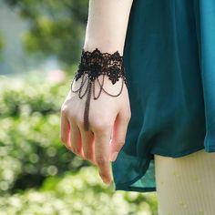 Lace Flower Chain Tassel Bracelet