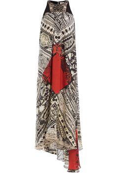 #Etro #Seidenkleid mit #Print und #Schleppe #, #Multicolor für #Damen - Das elegant fallende Kleid aus Seide von Etro begeistert  >  natürlich!  >  mit einem coolen Allover > Print und außerdem mit einer kurzen Schleppe. Für Abend > Looks mit dramatischem Effekt!  >  Seide mit Print in Creme, Schwarz und Rot, enger Rundhals, Drape > Falten, verdeckter Reißverschluss hinten, ärmellos, Schleppe  >  Locker geschnitten  >  Stylen wir mit feinen Stilettos und dezentem Schmuck