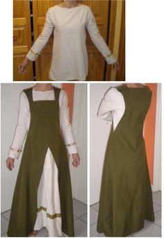 Voici une robe médiévale (ou viking) simple. J'ai d'abord réalisé une tunique écru, col rond et galons dorés sur les manches. J'ai ensuite réalisé la robe avec un col carré, 2 grandes échancrures pour passer les bras et une grande fente ouverte sur le devant. J'ai repris le même tissu que la tunique et cousu juste un pan derrière la fente (avec  un galon verte qui rappel la couleur de la robe). La robe est légère, facile à mettre, et donne l'effet qu'il y a une tunique longue plus une…
