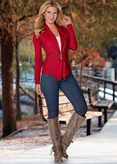COLOR SKINNY JEANS, BUCKLE FRONT CARDIGAN, SEAMLESS CAMI, EMBELLISHED WESTERN BOOT