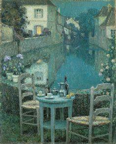 'Small Table in Evening Dusk,' 1921, Henri Le Sidane.