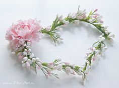 Свадьба : Свадебный венок с розовым цветком - В НАЛИЧИИ - Fito Art