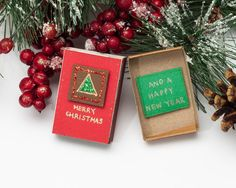 Christmas Card Matchbox/ Sparkling Holiday Card/ New Year Card/ Small Gift box/ Merry Christmas and a Happy New Year