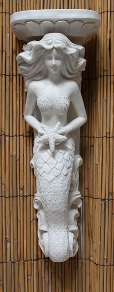 White Mermaid Wall Sconce from California Seashell Company Mermaid Cove, Mermaid Fairy, Real Mermaids, Mermaids And Mermen, Coastal Style, Coastal Decor, Mermaid Bathroom, Sculpture, Beach House Decor