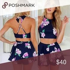"""? Crop Top Set ? Navy Blue Purple Green Floral Sleeveless X Back Halter Crop Top Two Piece Short Romper  The top has a stretchy ribbed backstrap   ? Tag marked MED. However,  it depends on your body figure.  Crop Top ? Measurements: Bust is approximately 13""""  Length is approximately 13""""   Shorts Waist approximately 15"""" Length 13"""" Skirts Circle & Skater"""