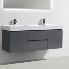 love this Bedroom and Bathroom. Grey Bathroom Vanity, White Bathroom, Bathroom Cabinets, Bathroom Ensembles, Mirror Backsplash, Vanity Set With Mirror, Cabinets For Sale, Bathroom Essentials, Undermount Sink