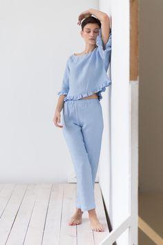 Sleepwear Sets, Sleepwear Women, Pajamas Women, Nightgown Pattern, Gamine Style, Pajama Outfits, Night Dress For Women, Linen Blouse, Kimono Fashion
