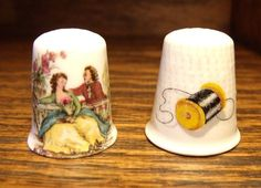 2 Signed Thimbles 1 LIMOGES France 1 KEN PARRY Bone China British FREE SHIPPING!