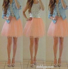 Cheap skirt clothes, Buy Quality skirt latin directly from China skirt fashion Suppliers: Peach 66 colours optional jupe tutu Trendy Short Pink Womens Tulle Skirt Mini Length Fashion Girl Skirts Solid Woman Ball Gowns Looks Chic, Looks Style, My Style, Teen Style, Teenage Girl Outfits, Outfits For Teens, Emo Outfits, Cute Outfits 2014, Dance Outfits