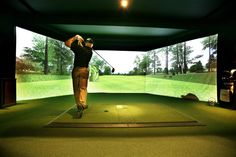 [Virtual Reality + Sport] A golf simulator allows golf to be played on a graphically or photographically simulated driving range or golf course, usually in an indoor setting. It is a technical system used by some golfers to continue their sport regardless of weather and time of day in a converted premises.