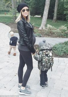 Out with her boys: The 28-year-old took her two sons Jaxon, 17 months, and three-year-old ...