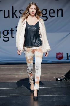 Fake fur, sequins and batique jeans
