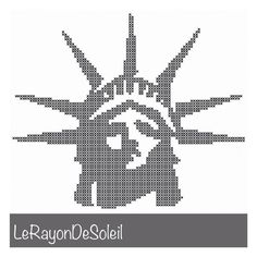 Modern Cross stitch pattern liberty head silhouette NYC 4th July. on Etsy, 3,00 €