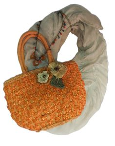 Bright wicker bag! Looove the necklace/scarf combo. Sweet and girly!  www.fashionsforless.net