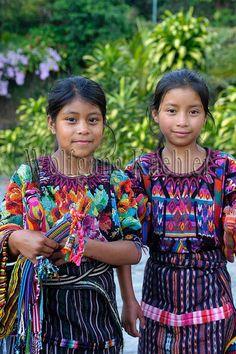 Guatemala, highlands, lake atitlan, panajachel, street scene, mayan girls in trditional clothing