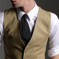 Suit vest in Irish linen - British khaki