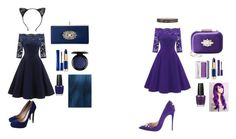 """""""Night Out"""" by storm-siren ❤ liked on Polyvore featuring Nicholas Kirkwood, Christian Louboutin, Badgley Mischka, Estée Lauder, L'Oréal Paris, John Lewis, OPI, Lime Crime, Clinique and WithChic"""