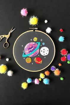 Planets Embroidery pattern, needlecraft pattern, embroidery pattern, beginners needlecraft, modern e Floral Embroidery Patterns, Hand Embroidery Stitches, Modern Embroidery, Embroidery Hoop Art, Hand Embroidery Designs, Diy Broderie, Learning To Embroider, Diy Kit, Embroidery Supplies