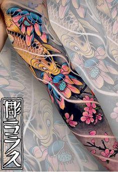 Vibrant tattoo sleeves by Swipe to the side to see both tattoos. Arm Tattoo, Koi Tattoo Sleeve, Dragon Sleeve Tattoos, Full Sleeve Tattoos, Tattoo Sleeve Designs, Leg Tattoos, Flower Tattoos, Body Art Tattoos, Tattoo Sleeves